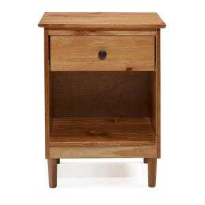 Classic Mid Century Modern Caramel 1-Drawer Solid Wood Nightstand Side Table - Home Depot