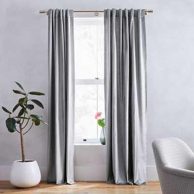 "Cotton Luster Velvet Curtain, Blackout Lining, Individual, Pewter, 48""x84"" - West Elm"