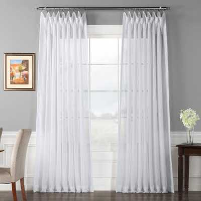 Exclusive Fabrics & Furnishings Signature Double Wide White Sheer Curtain - 100 in. W x 120 in. L - Home Depot