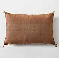 MOROCCAN CACTUS SILK SOLID PILLOW COVER - LUMBAR, RUST - RH