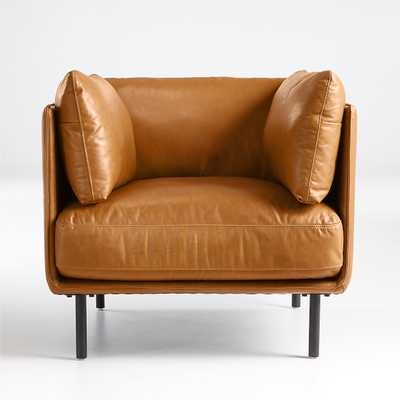 Wells Leather Chair-Benoit, Stone - Crate and Barrel