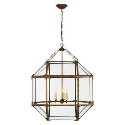 MORRIS LARGE LANTERN WITH CLEAR GLASS SHADE - GILDED IRON - McGee & Co.