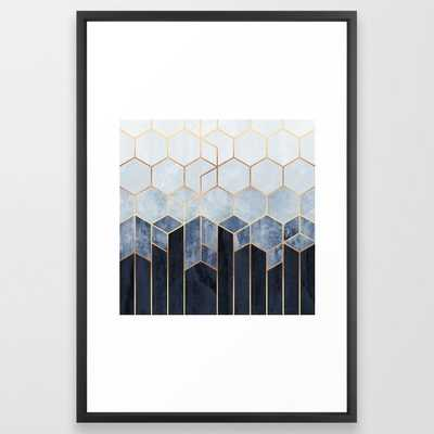 Soft Blue Hexagons Framed Art Print - Society6