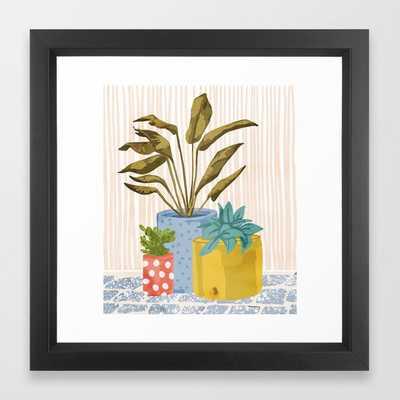 """Little Garden II - Framed Art Print - 12""""x12"""" - Vector Black Frame - Society6"""