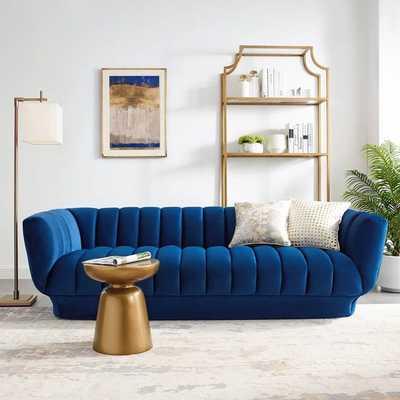 ENTERTAIN VERTICAL CHANNEL TUFTED PERFORMANCE VELVET SOFA IN NAVY - Modway Furniture