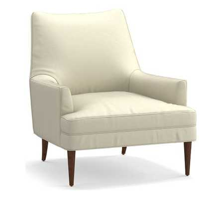 Reyes Leather Armchair, Polyester Wrapped Cushions, Statesville Ivory - Pottery Barn