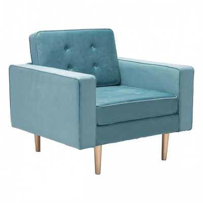 Puget Arm Chair Light Blue Velvet - Zuri Studios