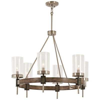 "Bridlewood 28"" Wide Wood Ring Modern Wagon Wheel Chandelier - Lamps Plus"