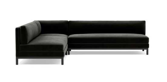 JASPER LEFT Corner Sectional Sofa - Ebony Performance Velvet - Interior Define