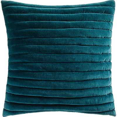 "18"" CHANNELED TEAL VELVET PILLOW WITH DOWN-ALTERNATIVE INSERT - CB2"