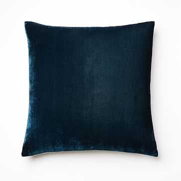 "Lush Velvet Pillow Cover, 20""x20"", Regal Blue, Individual - West Elm"