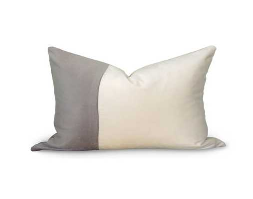 "Classic Colorblock Pillow Cover - Gray Velvet - 12x18"" - Willa Skye"