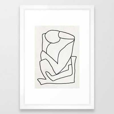 Abstract line art 2 framed art print- Vector White - Society6