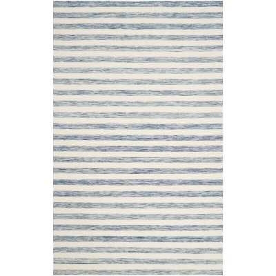 Rodgers Handwoven Flatweave Cotton/Wool Blue/Ivory Area Rug 6 x 9' - Wayfair