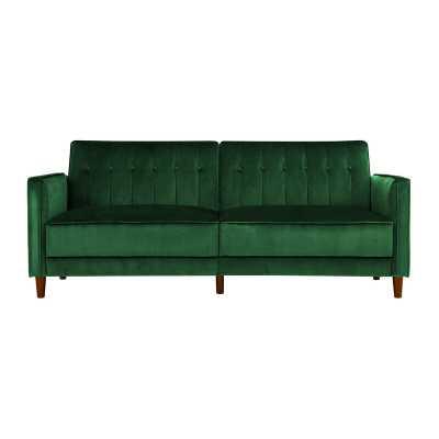"""Nia Velvet 81.5"""" Square Arm Sleeper -green velvet - Wayfair"""