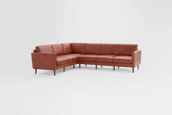 Nomad Leather 6-Seat Corner Sectional // Chestnut-Walnut - Burrow