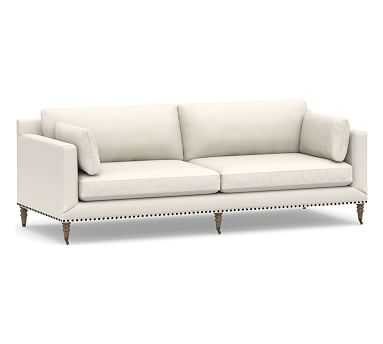 """Tallulah Upholstered Grand Sofa 95"""", Down Blend Wrapped Cushions, Performance Heathered Tweed Ivory - Pottery Barn"""