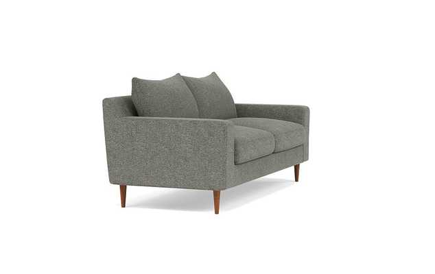 Sloan Loveseats with Grey Graphite Fabric, down alternative cushions, and Oiled Walnut legs - Interior Define