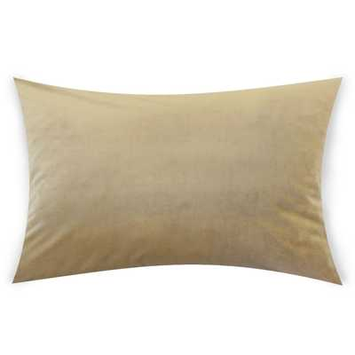 "Classic Velvet Pillow, Latte, 12"" x 18"" Lumbar - Havenly Essentials"