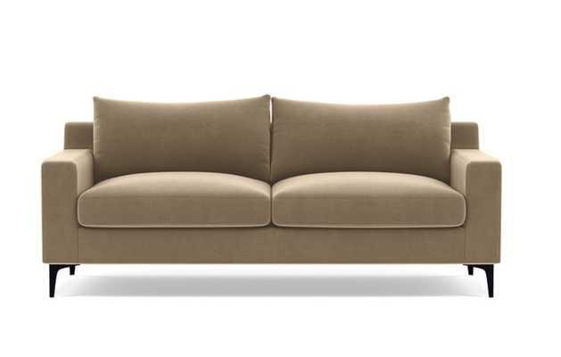 "Sloan Fabric 2-Seat Sofa - 91"" standard depth - Camel Performance Velvet - Matte Black L Leg - Down Alternative Cushions - Interior Define"