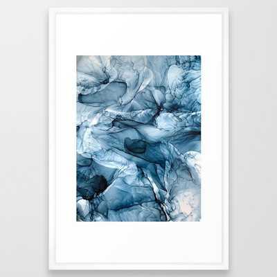 Churning Blue Ocean Waves Abstract Painting Framed Art Print - Society6