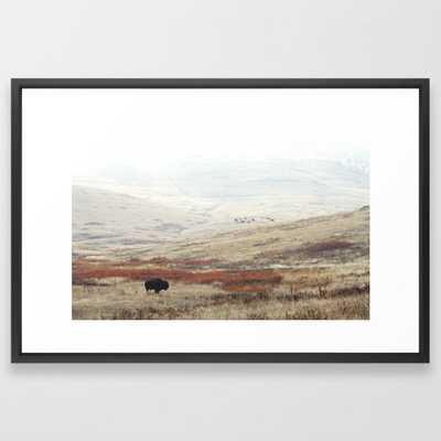 Lone Bison on National Bison Range in Montana Framed Art Print,Vector Black - Society6