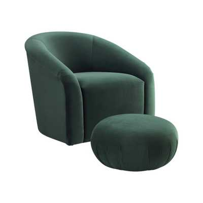 Caroline Forest Green Velvet Chair + Ottoman Set - Maren Home