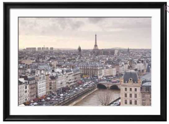 """The City of Paris as Seen from Notre Dame Cathedral, Paris, France, Europe - Ramino Ii Black 1.75"""" Frame 36"""" x 24"""" Photographic Print - art.com"""