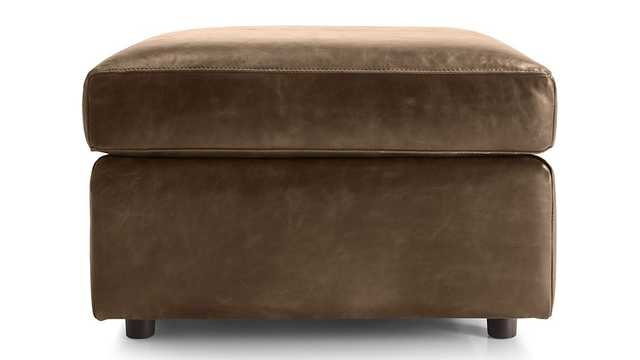 Barrett Leather Ottoman - Libby, Saddle - Crate and Barrel