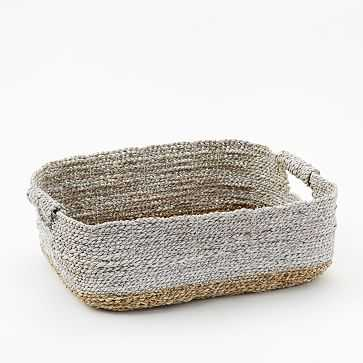 Two-Tone Woven Baskets, Natural/White, Underbed Basket - West Elm