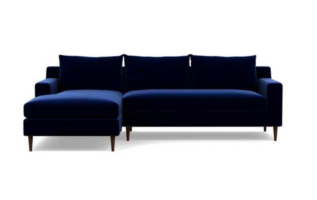 """SLOAN Sectional Sofa with Left Chaise Oxford Blue - Mod Velvet, Oiled Walnut Tapered Round Wood Leg, 96"""" L, Bench Cushion - Interior Define"""