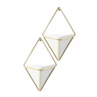 Set of 2 Small Trigg Display Wall Planters White/Brass - Umbra - Target