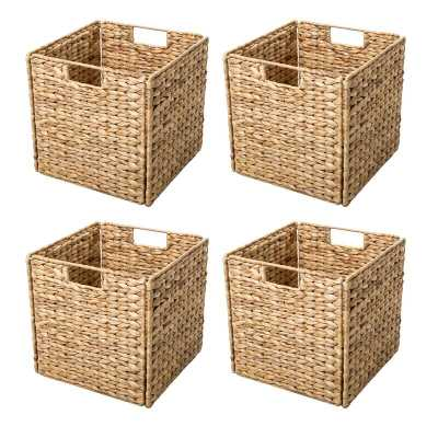 Hyacinth Foldable Storage Wicker Basket - set of 4 - Wayfair