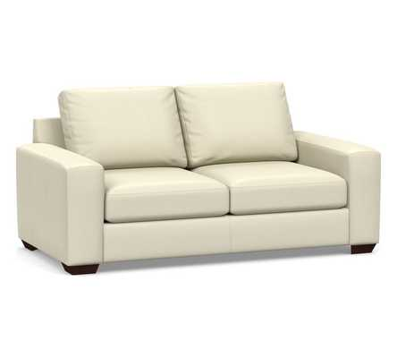 """Big Sur Square Arm Leather Loveseat 76"""", Down Blend Wrapped Cushions, Statesville Ivory - Pottery Barn"""