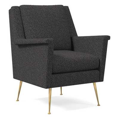 Carlo Midcentury Chair, Luxe Boucle, Black/White, Brass - West Elm
