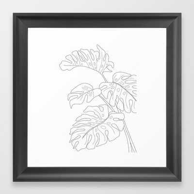 Line Art Monstera Leaves Framed Art Print - Society6