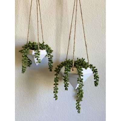 Geo Ceramic Hanging Planter (Set of 2) - Wayfair