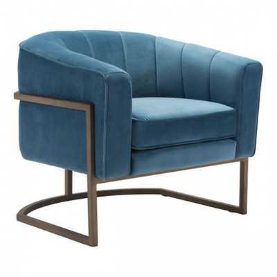 Lyric Occasional Chair Blue Velvet - Zuri Studios