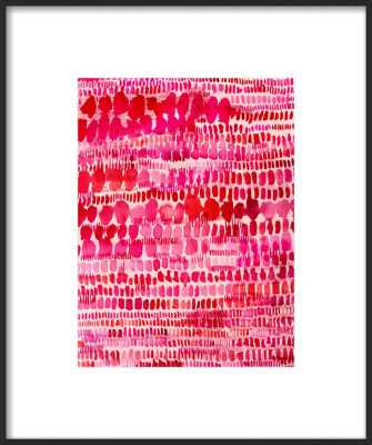 "Pink and Red Watercolor Patterns Wall Art - with matte - (9x12"" artwork size) - 15""x 18"" final framed size - Artfully Walls"