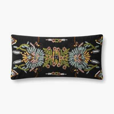 "Loloi PILLOWS P0826 Black / Multi 12"" x 27"" Cover w/Poly - Loma Threads"