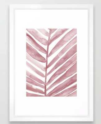 "Pink Palm Leaf Crop Framed Art Print - 15"" x 21"" - Vector White Frame - Society6"