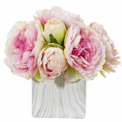 Artificial Peony Floral Arrangement and Centerpieces in Vase - Wayfair