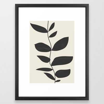 Minimal Plant Framed Art Print // Medium 20x26 // Vector Black frame - Society6