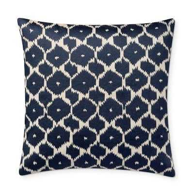 """Medallion Embroidered Abaca Pillow Cover, 22"""" X 22"""", Navy - Williams Sonoma"""