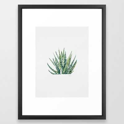 "Zebra Cactus Framed Art Print - Vector Black - 20"" x 26"" - Society6"