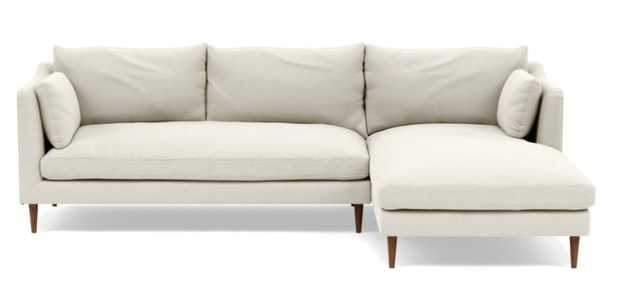 CAITLIN BY THE EVERYGIRL Sectional Sofa with Right Chaise - chalk - Oiled Walnut Tapered Round Wood - Interior Define