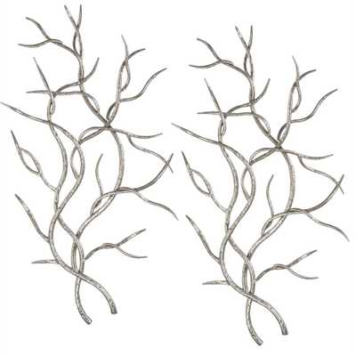 Silver Branches Metal Wall Decor, Set of 2 - Hudsonhill Foundry