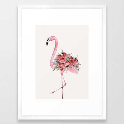 Flamingo Floral Framed Art Print - Society6