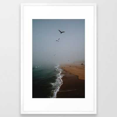 34 Foggy California Coast Framed Art Print - Framed Vector, White - Society6