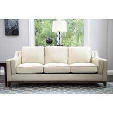 Abbyson Allegra Cream Top-grain Leather Sofa - Overstock